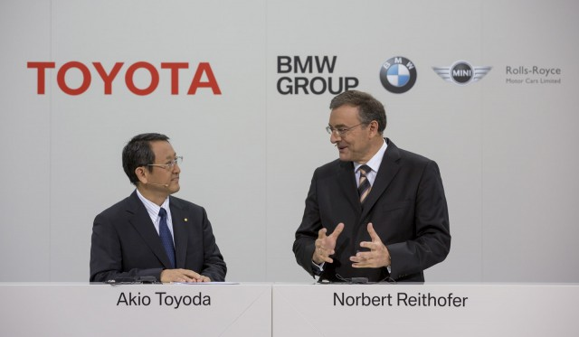Toyota CEO Akio Toyoda with BMW CEO Norbert Reithofer