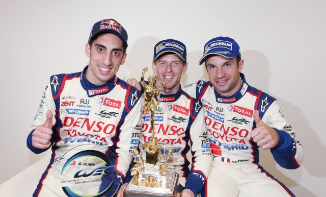 Toyota drivers Sébastien Buemi, Anthony Davidson and Nicolas Lapierre