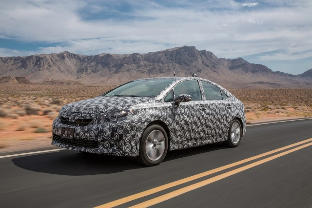 Toyota FCV hydrogen fuel cell vehicle prototype during hot-weather endurance testing in N America