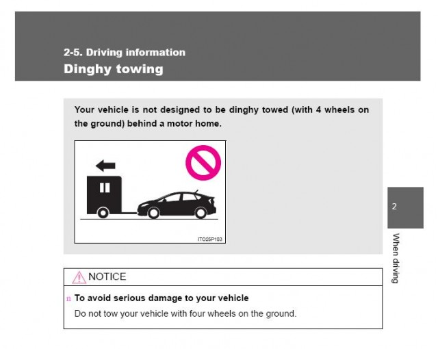 Toyota Prius towing warning - from owner's manual