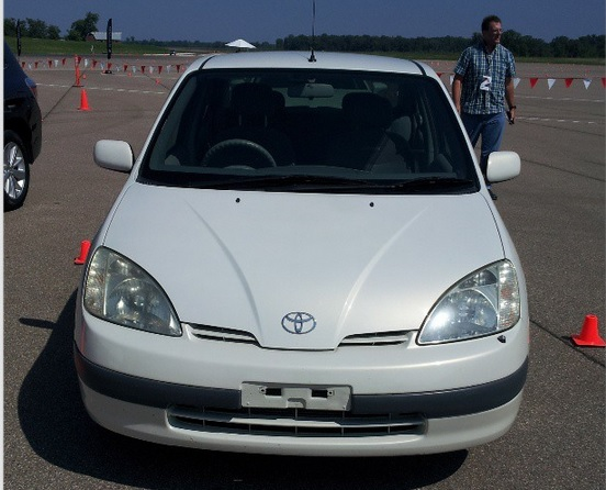 Original 1997 Toyota Prius for Japanese market at Toyota Hybrid World Tour, Aug 2013