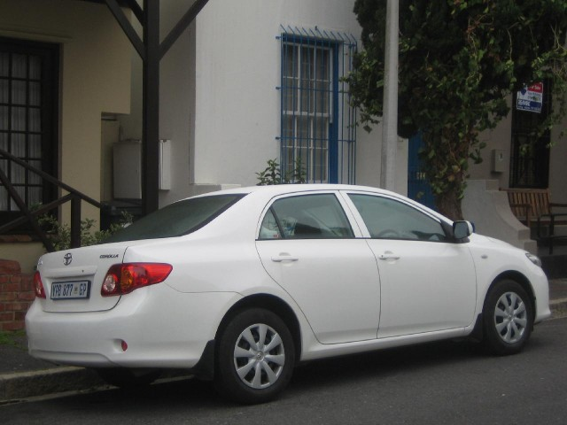 2010 Toyota Corolla sold in South Africa, shown in Die Waterkant, Cape Town