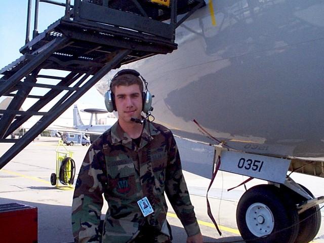 U.S. Air Force avionics technician Tim Goodrich at Tinker AFB, Oklahoma