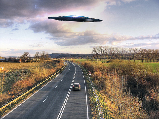 UFO over road. Image by Markusram.