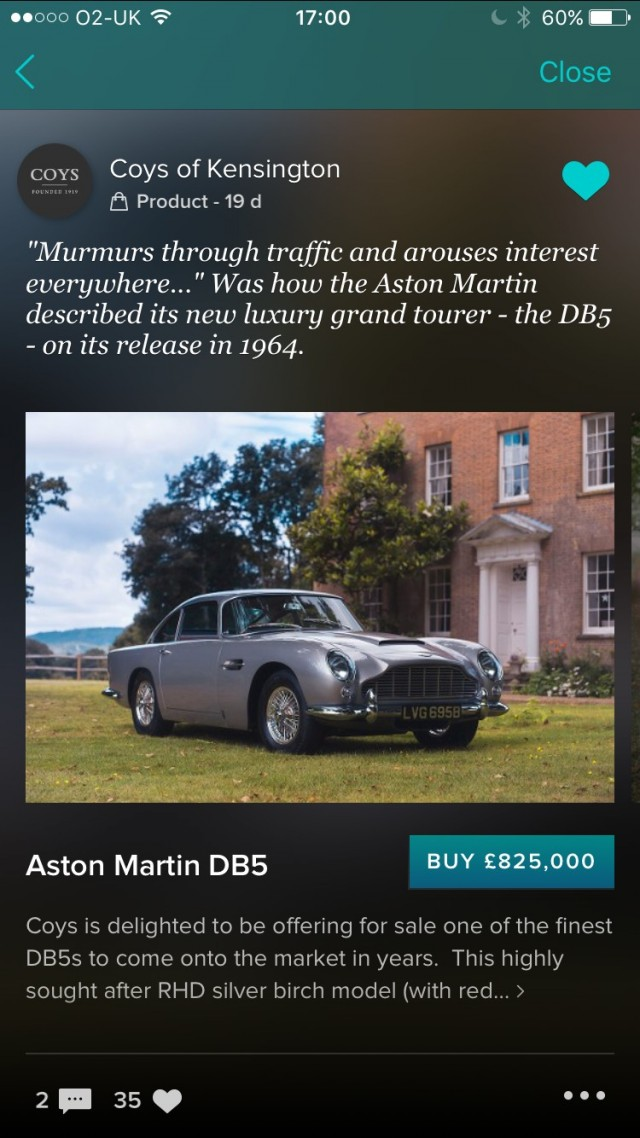 Vero app listing for the 1964 Aston Martin DB5 sold by Coys