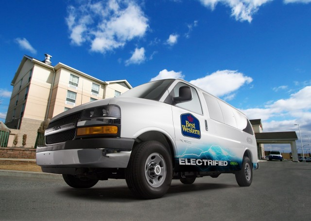 Via Vtrux range-extended electric van outside Best Western hotel