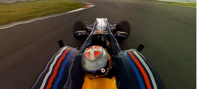 ViewCam 360 still of a Red Bull F1 car at speed