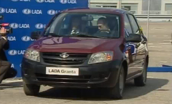 Vladimir Putin trying to start Lada Granta