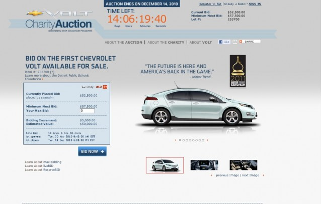 Chevrolet Auctions Job2 Production Volt For Charity Online