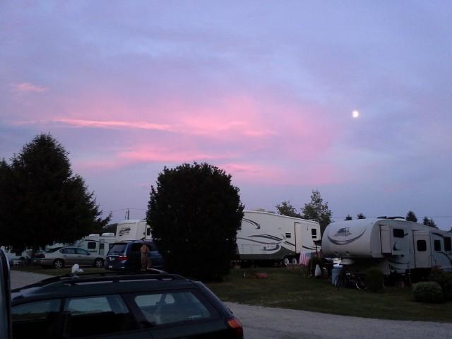 Weekend in 30-foot Airstream Flying Cloud trailer, Mystic KOA, N Stonington, CT, July 2013