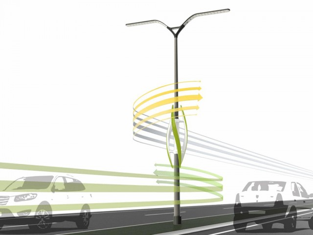Wind-Turbine Powered Highway Lights, concept by TAK Studio