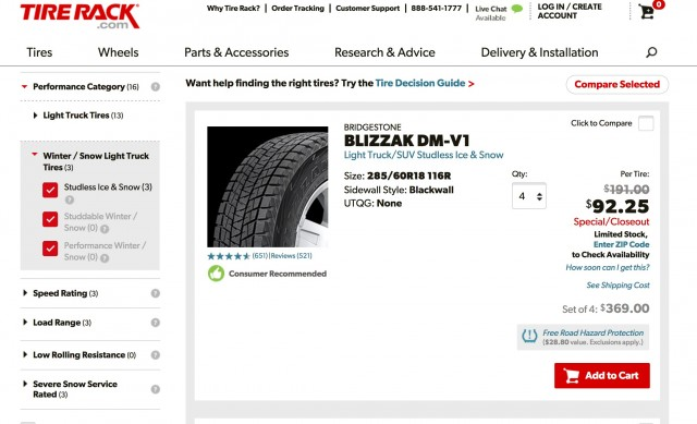 Winter tire discount from Tire Rack