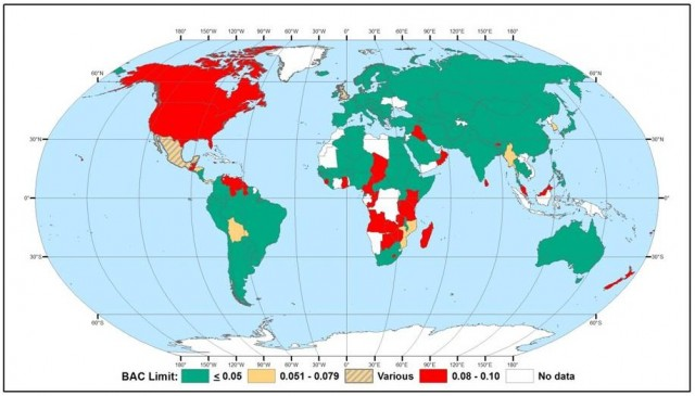World map of blood alcohol content limits (via NTSB)