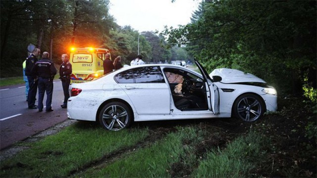 Wreckage of a 2013 BMW M5 that belonged to Dutch DJ Headhunterz
