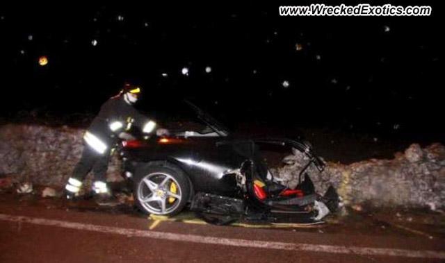 Wreckage of a Ferrari 458 Itala that crashed near Taranto, Italy