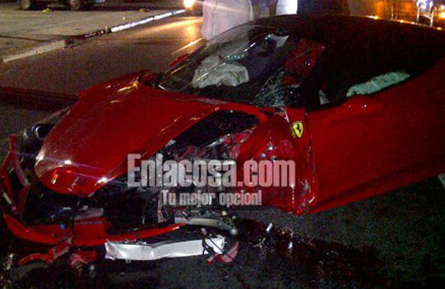 Wreckage of a Ferrari 458 Italia that crashed in the Dominican Republic