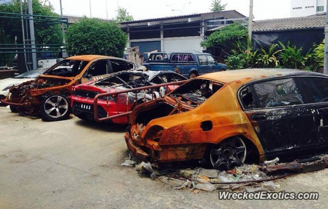 Wreckage of exotic cars destroyed by fire at Thai auction site (Image via Wrecked Exotics)