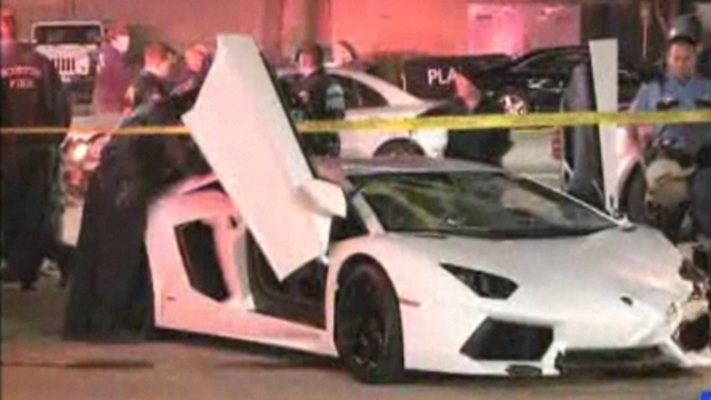 Wreckage of Lamborghini Aventador LP 700-4 that crashed in Houston