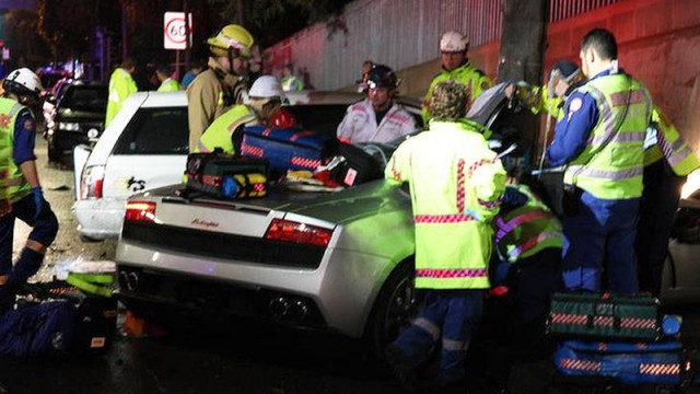 Wreckage of Lamborghini Gallardo that collided with taxi - Image courtesy of NSW Police
