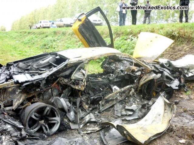 Wrecked Lamborghini Murcielago LP640 in Russia