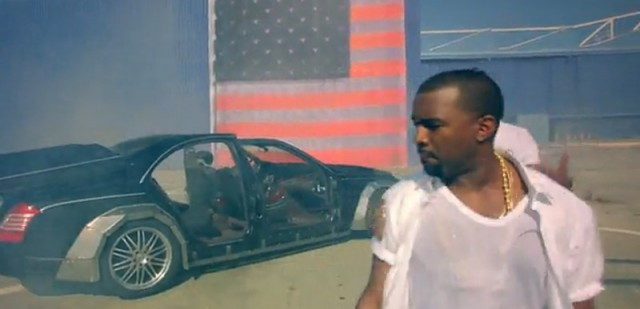 Wrecked Maybach in Kanye West and Jay-Z film clip for Otis