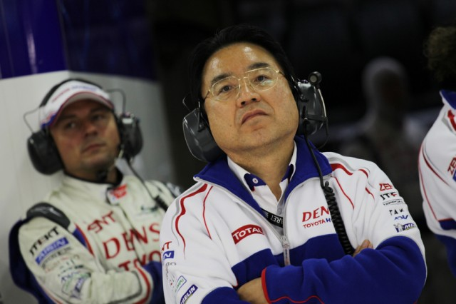 Yoshiaka Kinoshita watches the TS030 hybrid at Le Mans - Toyota Racing photo