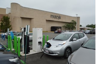 2015 Nissan Leaf at evGo fast charger at Livingston Mall, Livingston, NJ   [photo: John Briggs]