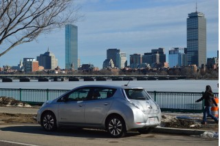 2015 Nissan Leaf in front of Prudential and Hancock Towers, Boston [photo: John Briggs]