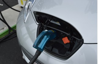 2015 Nissan Leaf with CHAdeMO fast-charging cable plugged in  [photo John Briggs]