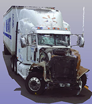 3D scan of the Wal-Mart tractor-trailter that rear-ended Tracy Morgan's Sprinter van