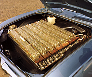 Battery array under the hood of the 1966 Chevrolet Electrovair II