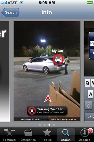 Car Finder app for iPhone