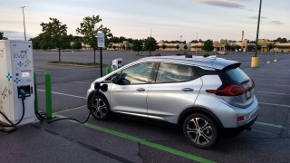Chevy Bolt EV fast-charging at EVgo station before trip across Maryland    [image: Brian Ro]