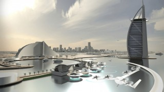 Concept drawing for Uber Elevate flying taxi service