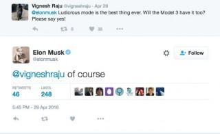 Elon Musk confirms Ludicrous Mode for the Model 3 via Twitter