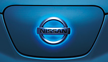 Glowing Nissan Leaf Logo