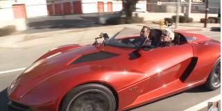 Jay Leno behind the wheel of a Rezvani Beast