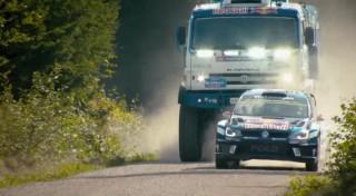 KAMAZ Dakar Race Truck runs against a WRC VW Polo