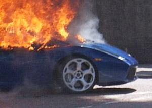 Lamborghini Gallardo on fire in Scottish Highlands