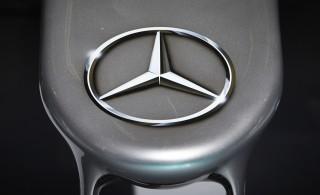 Mercedes-Benz logo on race car