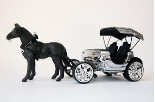 """Model of Cadillac Escalade horse carriage by artist Jeremy Dean for his work, """"Back to the Futurama"""""""