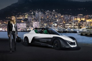 Margot Robbie and the Nissan BladeGlider in Monaco
