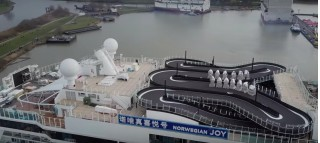 This cruise ship has a Ferrari go-kart track on its top deck