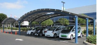 Solar powered electric-car charging facility, Mitsubishi headquarters, Cypress, CA