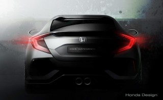 Teaser for 2017 Honda Civic Hatchback prototype debuting at 2016 Geneva Motor Show