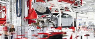 Tesla Motors production line for Tesla Model S, Fremont, California