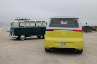 Volkswagen ID Buzz electric bus concept with 1964 VW Microbus
