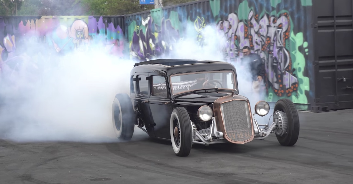 1933 Plymouth hot rod is a mean burnout machine