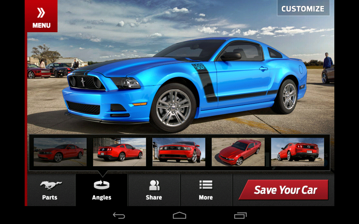 customize your dream 2013 ford mustang with downloadable app. Black Bedroom Furniture Sets. Home Design Ideas