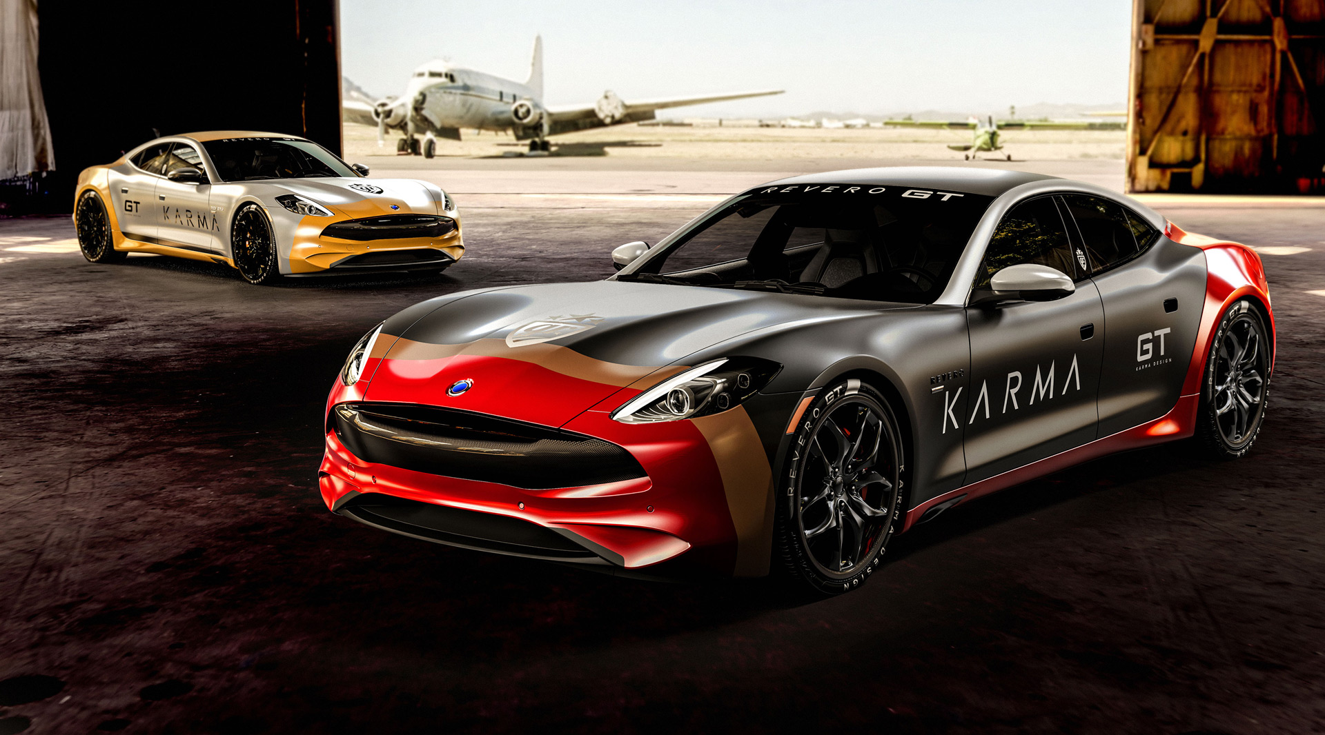 Karma revero gt gets p 51 mustang inspired livery for goldrush rally